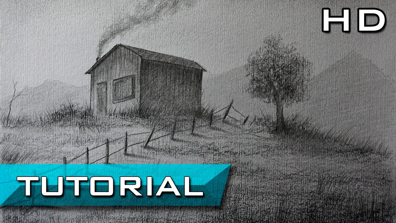 C mo dibujar un paisaje a l piz paso a paso casita en el monte paisaje de campo youtube - Como vallar un campo ...
