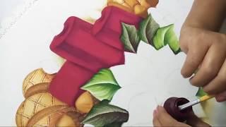 Pintura En Tela Navidad Camino De Mesa Con Nochebuenas Y Velas