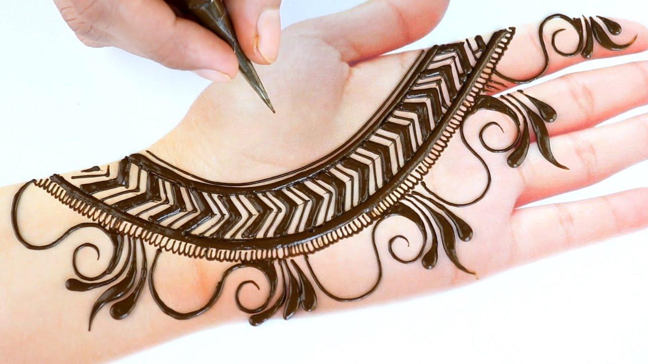 Very easy trick mehndi design - Latest Mehendi design for front hands - Simple henna/Mehandi design