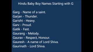 Indian Hindu Baby Boy Names G