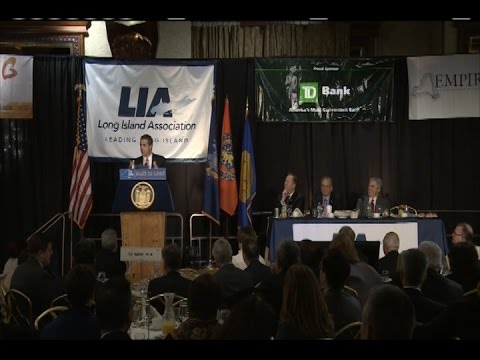 Gov. Andrew Cuomo speaking at the Long Island Association's Annual State of the Counties Breakfast in Woodbury.