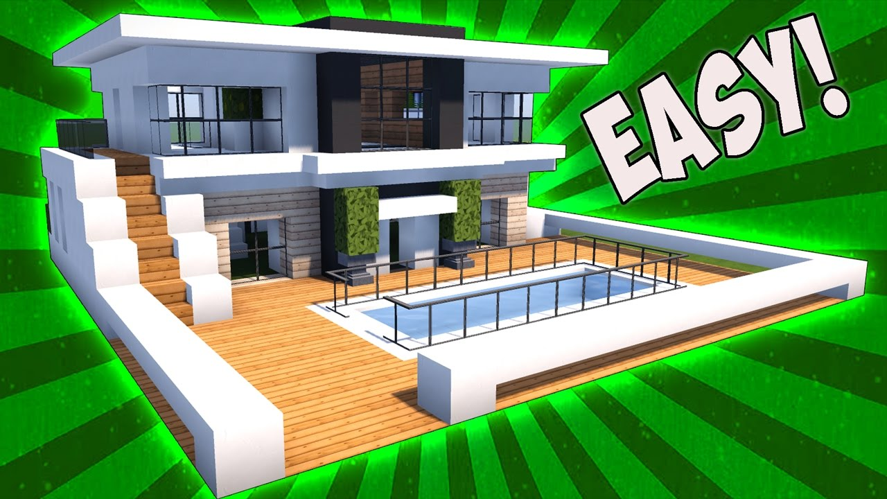 Minecraft how to make a house with a pool for Big modern houses on minecraft