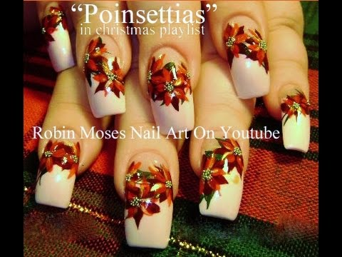 red poinsettias christmas nail