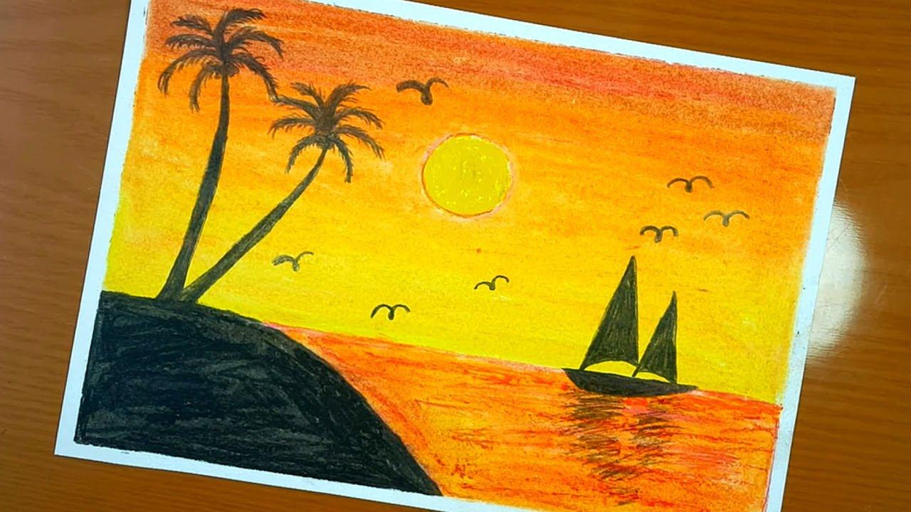 Come Disegnare Uno Scenario Al Tramonto Con Pastello Ad Olio E Matite Be Creativo Art Youtube