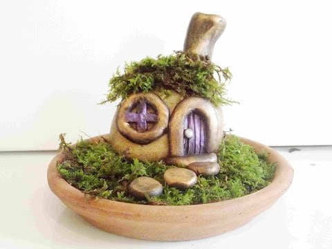 How To Make A Stone Fairy House and Garden With Polymer Clay 4X Speed