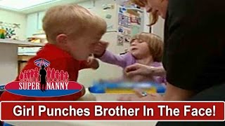 Angry 4yr Old Punches Big Brother In The Face | Supernanny