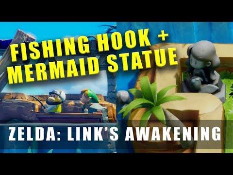 The Legend Of Zelda Link's Awakening Switch Fishing Hook, Mermaid Statue & Necklace