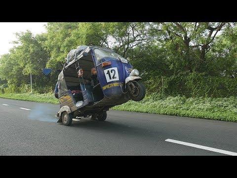 Rickshaw Run India Aug 2017 Team Because Racetuk Montage (Worlds first TukTuk spoiler/ wheelie?)