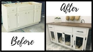 FARMHOUSE CABINET MAKEOVER|DIY DOG CRATE