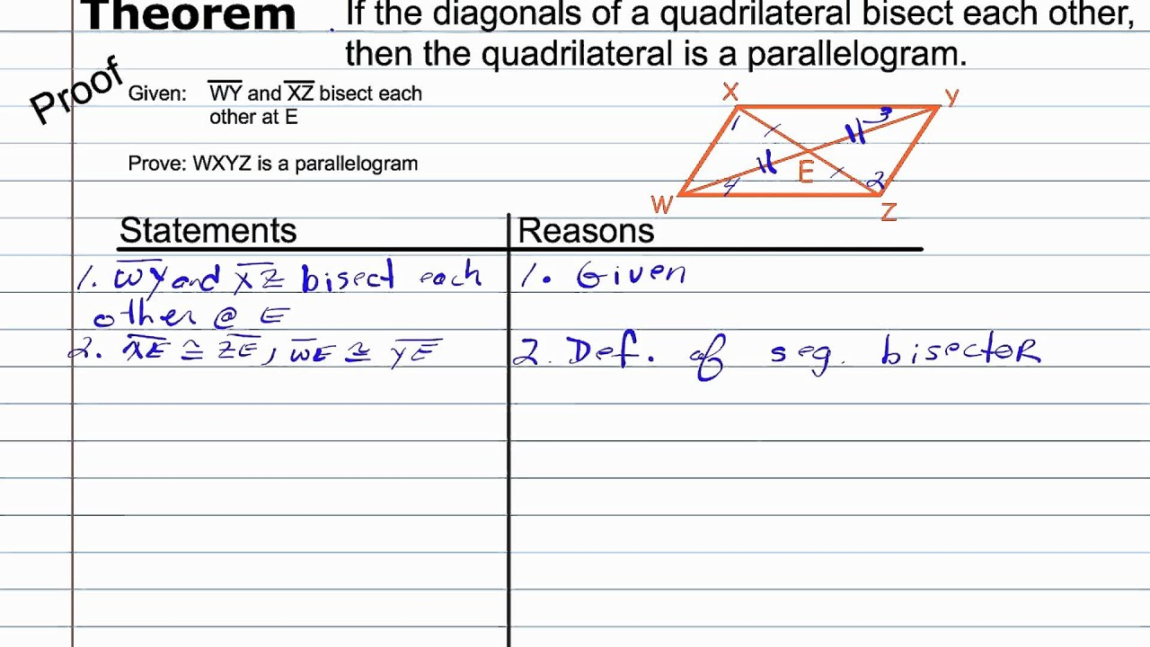 Proving a Quadrilateral a Parallelogram – Geometry Proofs Worksheet