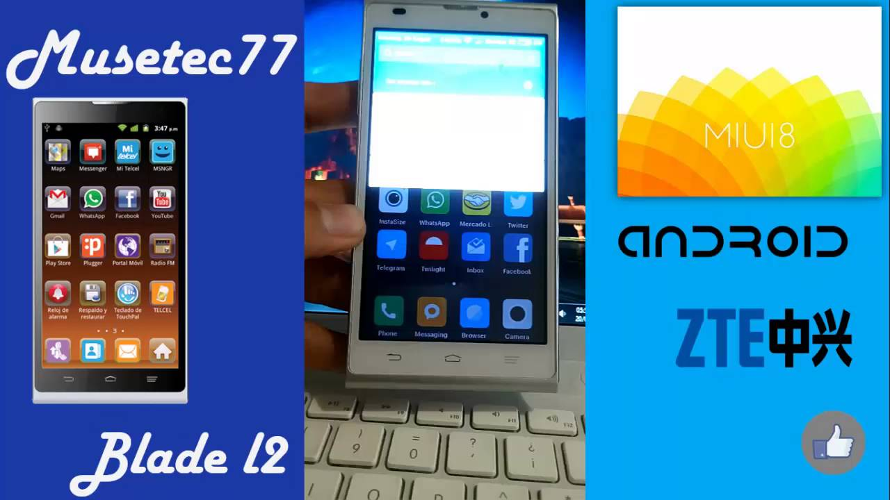 ZTE Blade L2 | MIUI 8 | Custom Rom | Review miui 8 en el zte blade l2 o  telepatria 2 by Musetec