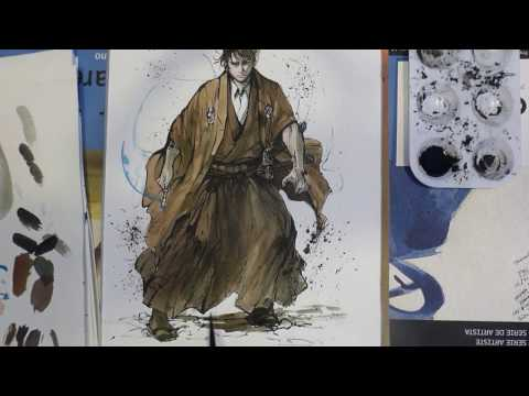 Doctor Who Samurai – Using sumi ink and watercolor – painting howto