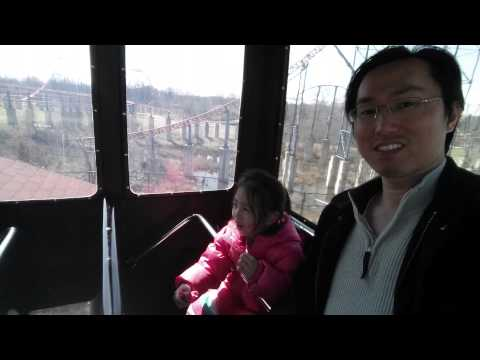 Rachel & Daddy - Six Flags America - bus ride