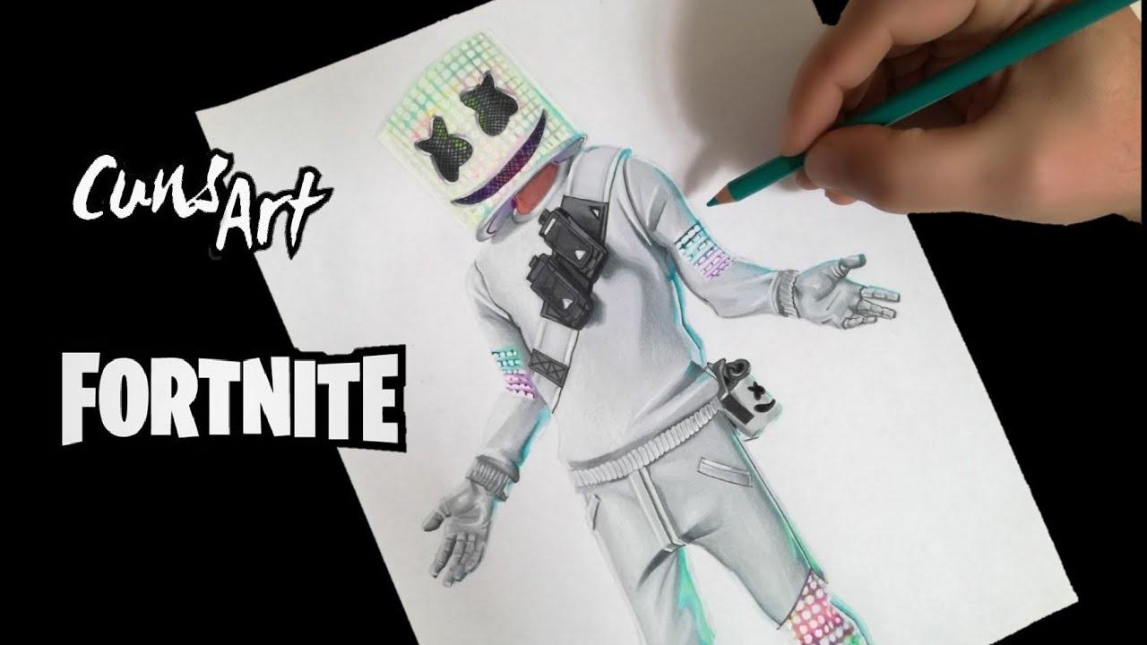 Como Dibujar A Marshmello Fortnite How To Draw Marshmello
