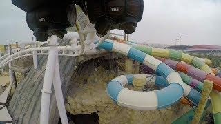 Bandit Bomber Roller Coaster POV Yas Waterworld Water Theme Park Abu Dhabi UAE