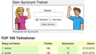 Synonyme suchen und finden - mit Synonym Spiel