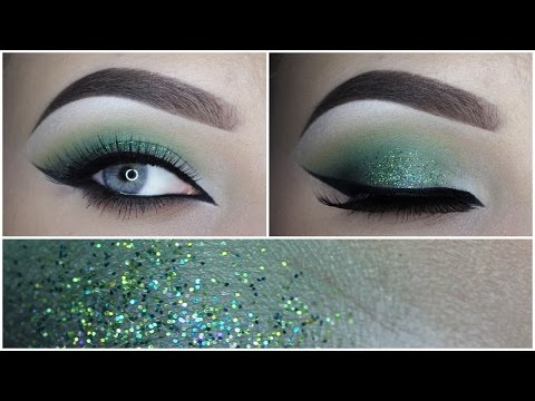 Green glitter eye makeup tutorial – MAKEUPBYAN
