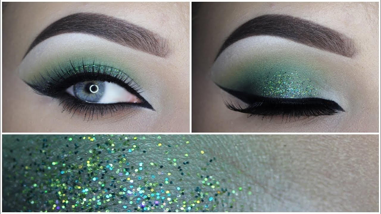 green glitter eye makeup tutorial - makeupbyan
