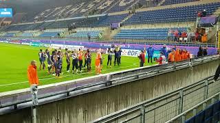 PSG- lyon feminine 31/05/2018 les joueuses du psg avec les ultras!