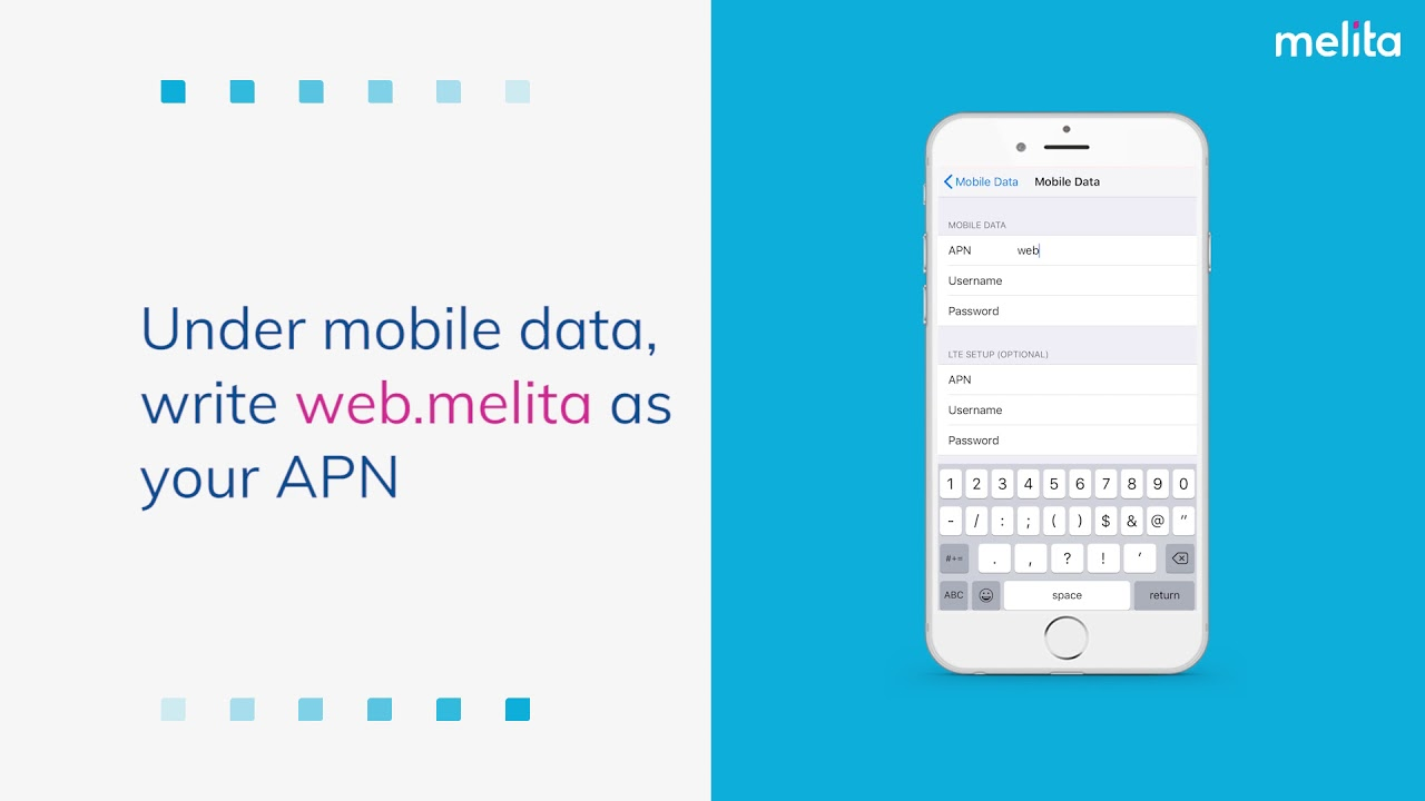 How to setup internet on your melita mobile iOS devices