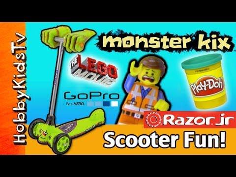 MONSTER Mashes Emmet PLAY-DOH Bricks! HobbyKids Ride Kix Scooter Razor Jr [Lego] [GoPro]