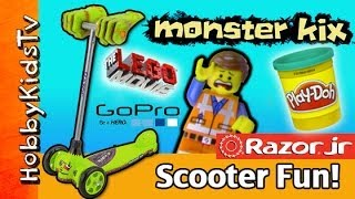 MONSTER Mashes Emmet PLAY-DOH Bricks! HobbyKids Ride Kix Scooter Razor Jr [Lego] [GoPro]