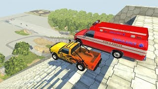 Crazy Vehicle Insane Stairs Jumps Down - BeamNG drive Giant Stairs Jumps
