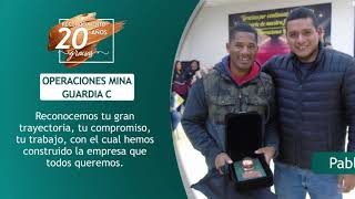 Reconocimiento 20 años de servicio - Operaciones Mina Guardia C