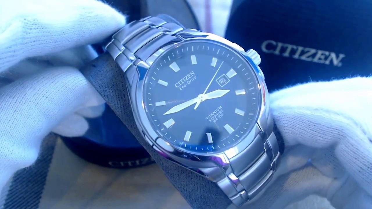 71bfac08c Men's Citizen Eco Drive Titanium Sapphire Blue Dial Watch BM7170 53L -  YouTube
