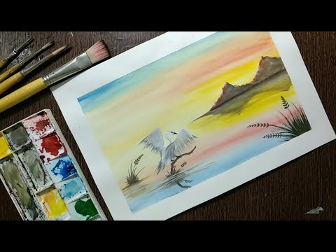Watercolor Painting for beginners || Easy watercolor sunset tutorial for beginners step by step