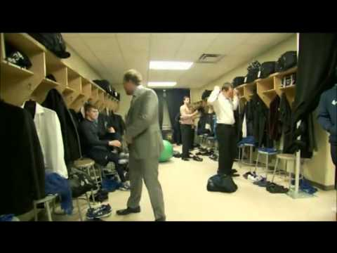 Throwback to Randy Carlyle and Phil Kessel in the locker room.