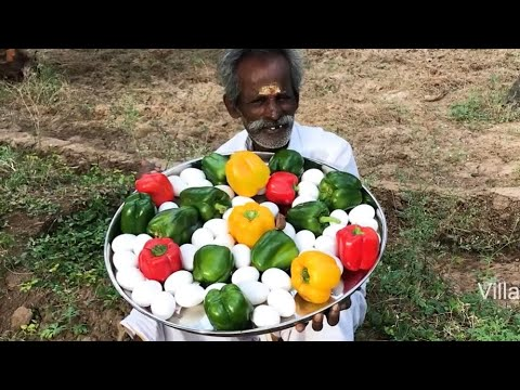 CAPSICUM OMELETTE !!! Prepared by my Daddy ARUMUGAM / Village food factory