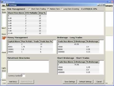 Stock Trading Money & Risk Management Software