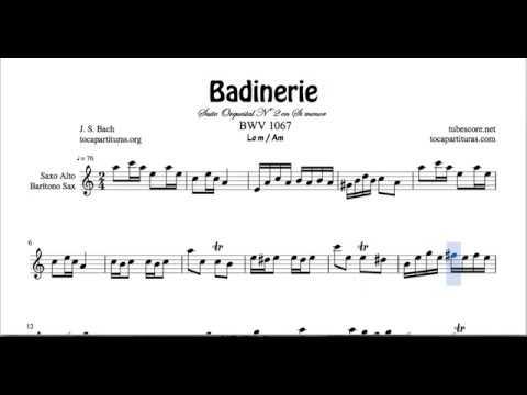 Badinerie  J. S. Bach Sheet Music for Alto Saxophone Baritone A minor