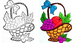 Easy drawing/drawing for kids/fruit basket drawing/how to make fruit basket/easy drawing for kids