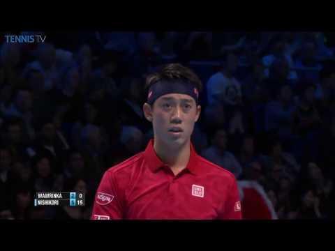 Amazing Kei Nishikori no-look backhand smash at 2016 ATP World Tour Finals v Wawrinka!