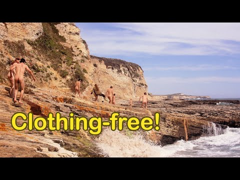 Prowling Panther Beach - nudist group explores oceanside rock formations