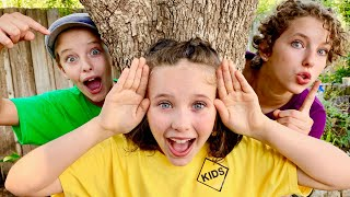 Hide and Seek in Grandma's Backyard with Sign Post Kids and Mommy!