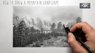 How To Draw a Mountain Landscape | Step by Step