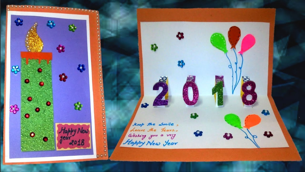 diy new year card 2018party balloonsgreeting card for new year celebrationnew year pop up card
