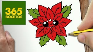 COMO DIBUJAR UN FLOR PARA NAVIDAD PASO A PASO: Dibujos kawaii navideños - How to draw a flower