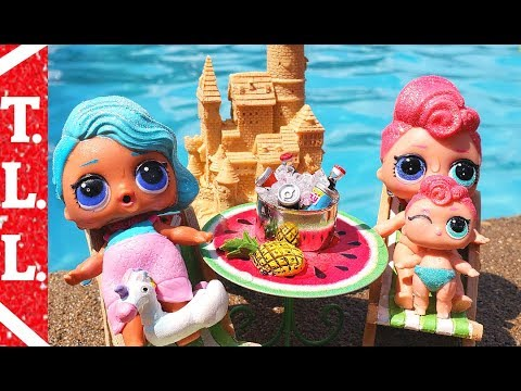 Lol dolls go on vacation to pool Will lil stardust queen get saved ?