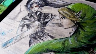 DARK LINK VS. LINK: OOT Watercolor Time Lapse Painting