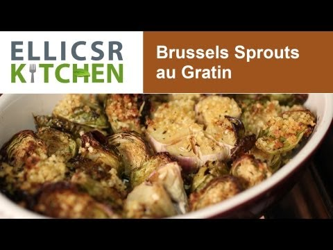 Roasted Garlic Brussels Sprouts Au Gratin