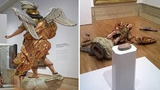 Brazilian tourist Knocks over and Destroys Saint Michael statue while taking a selfie in Lisbon