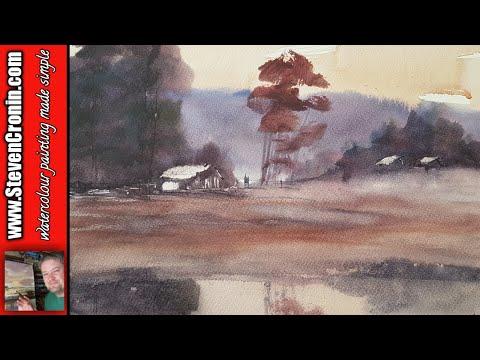 Lakeside Watercolour Painting Landscape Tutorial