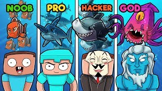 Minecraft - UNDERWATER WAR! (NOOB vs PRO vs GOD vs HACKER)