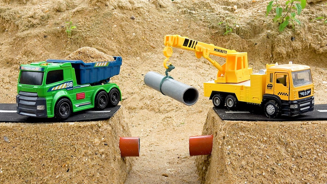 Road Construction Vehicles Toys! Excavator, Dump Truck, Crane Truck for Kids