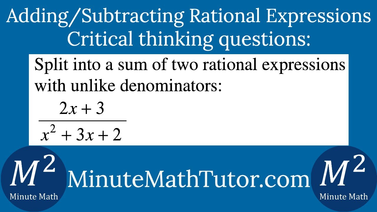 Split Into A Sum Of Two Rational Expressions With Unlike Denominators 2x 3 X 2 3x 2 Youtube Addition of two rational expressions