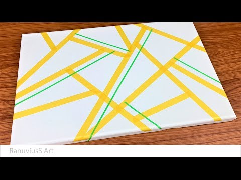 Daily Art #194 | Easy Abstract Painting Using Masking Tape - Shattered